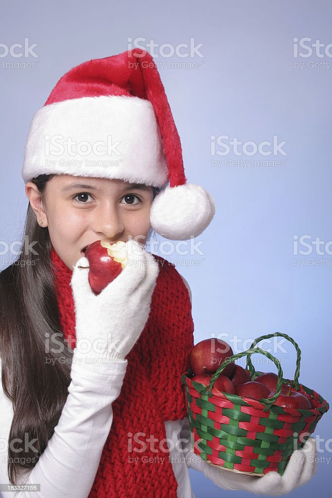 Christmas Girl With Apples royalty-free stock photo