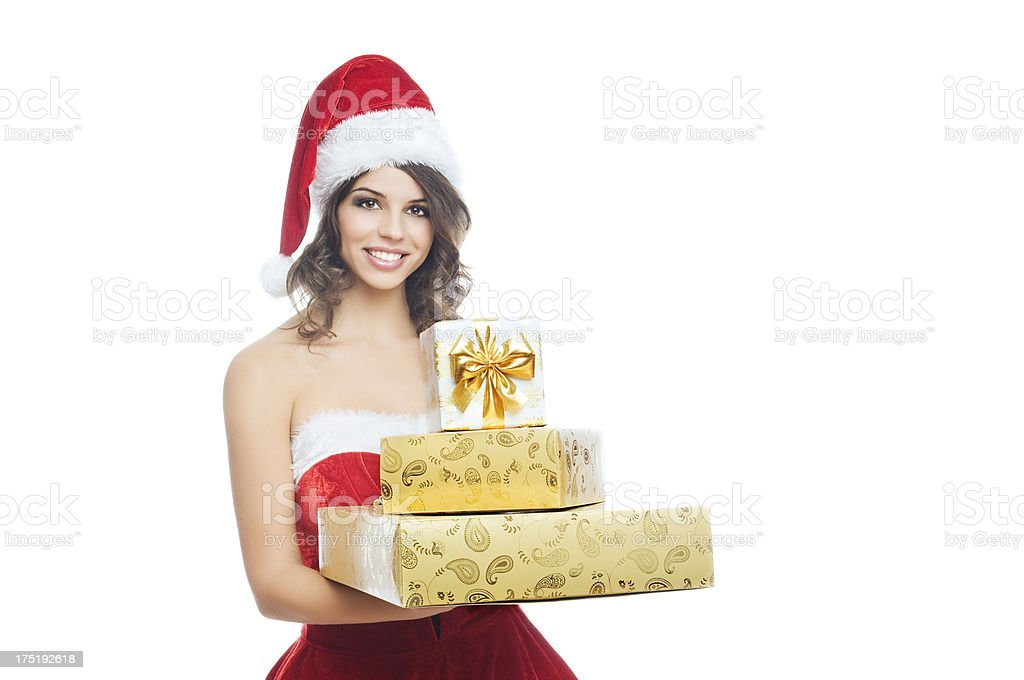 Christmas girl with presents royalty-free stock photo