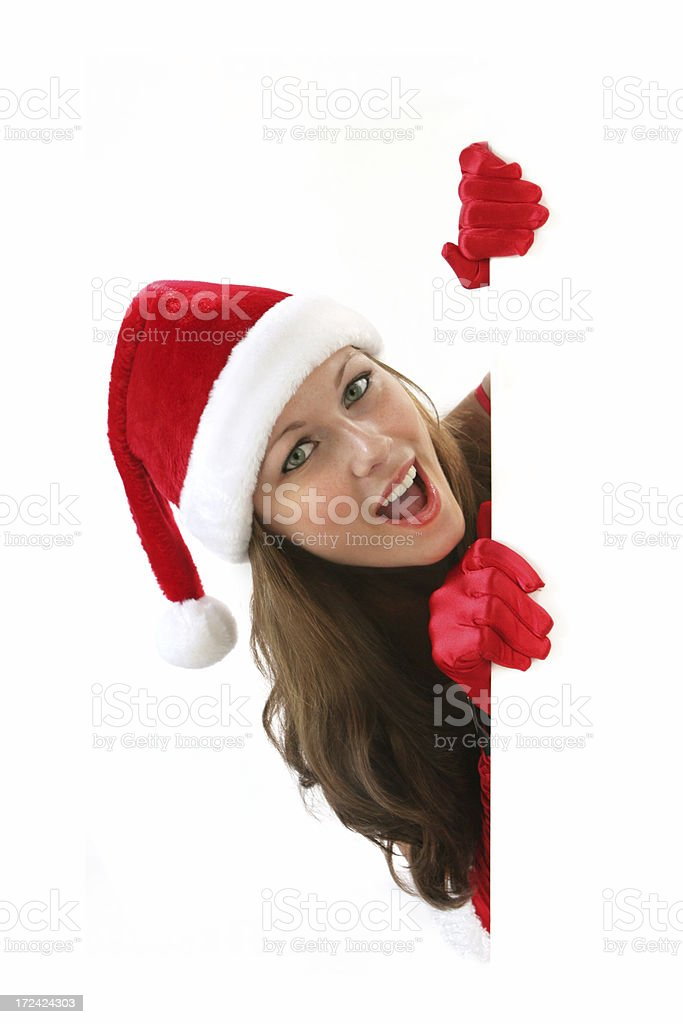 Christmas girl with signboard royalty-free stock photo