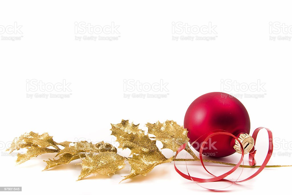 christmas glass ball with holly royalty-free stock photo