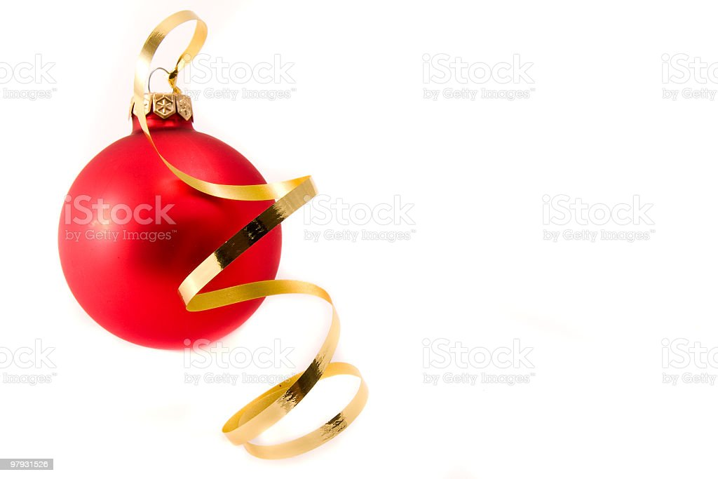 christmas glass ball with ribbon royalty-free stock photo
