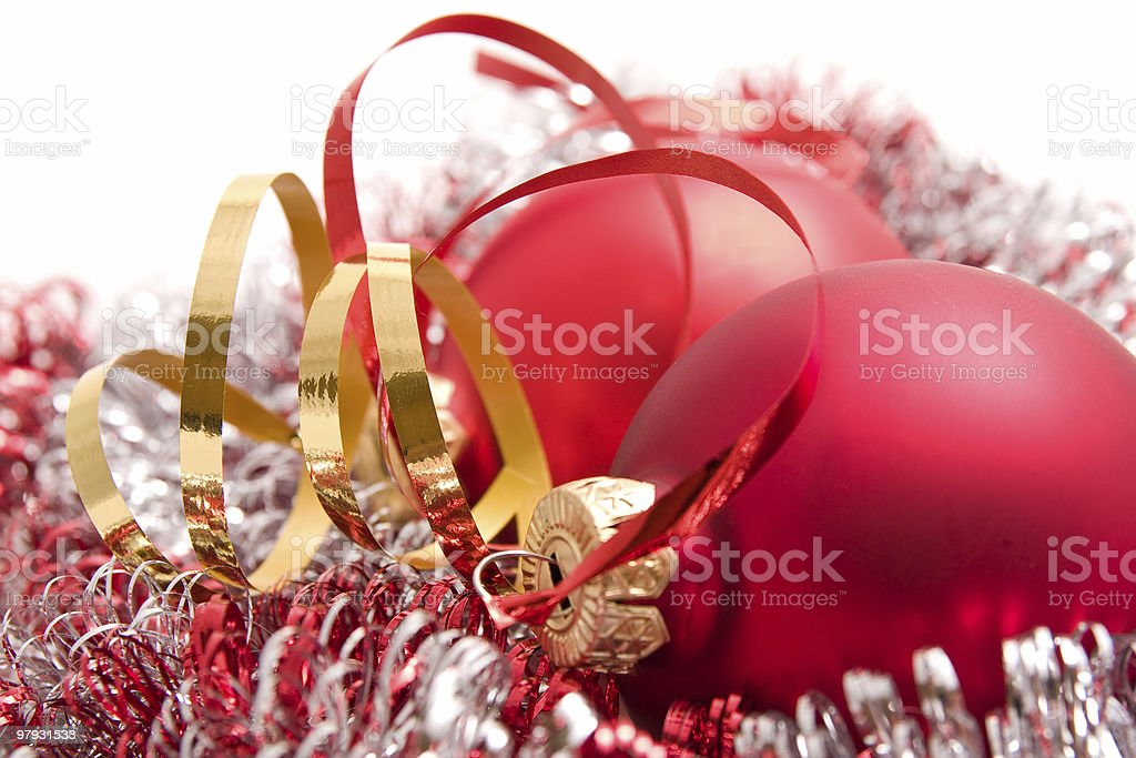 christmas glass balls with ribbon royalty-free stock photo