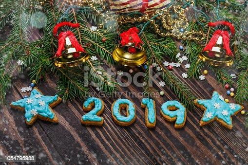 istock Christmas glazed gingerbread cookies 1054795988