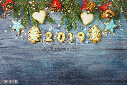 istock Christmas glazed gingerbread cookies 1064191180
