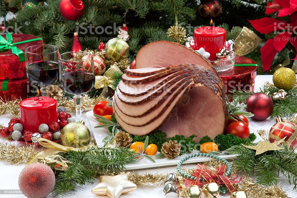Christmas Glazed Ham stock photo