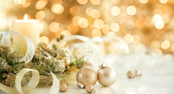 Christmas Gold Ornaments and Candle