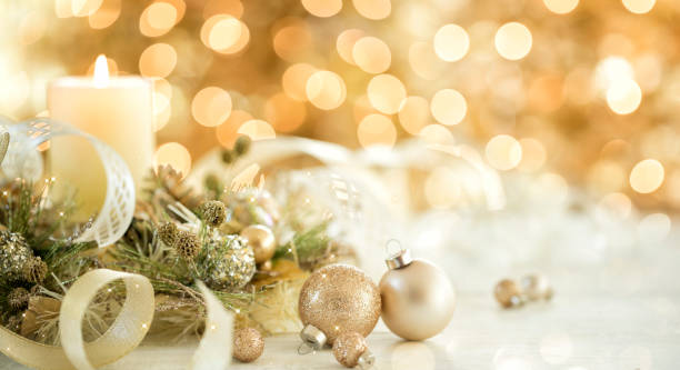 Christmas Gold Ornaments and Candle stock photo