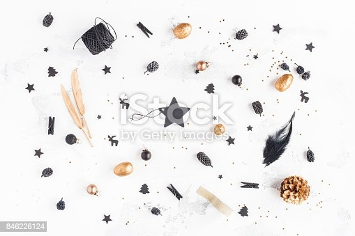 istock Christmas golden and black accessories. Flat lay, top view 846226124