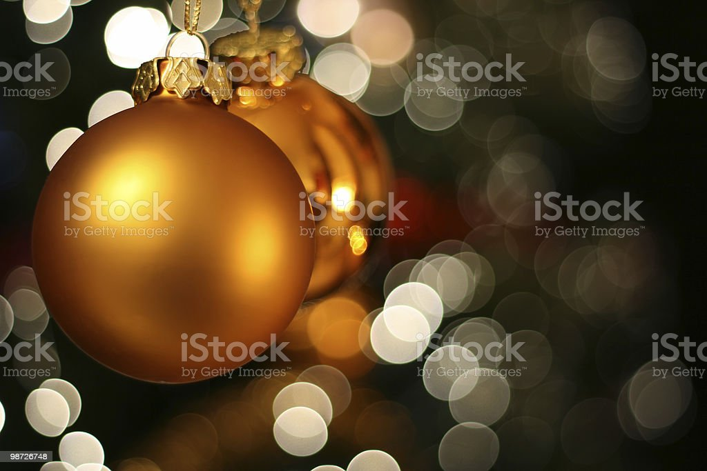 Christmas golden ball card royalty-free stock photo