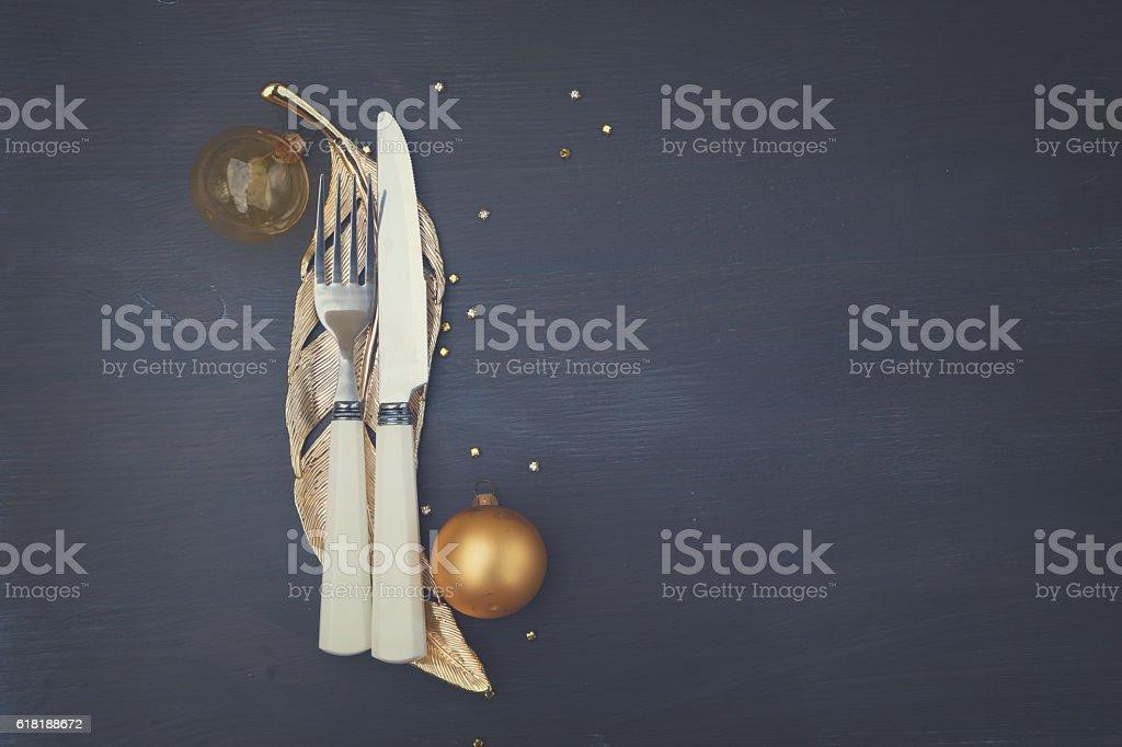 Christmas golden plate stock photo