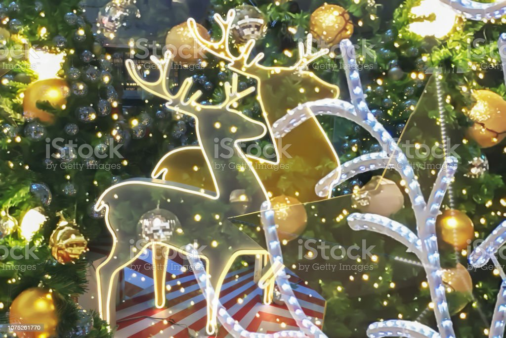 Christmas golden reindeer festive holiday interior atmosphere with...