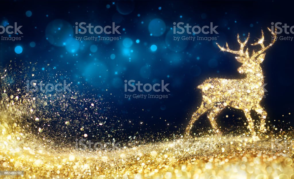 Christmas  - Golden Reindeer In Abstract Night stock photo