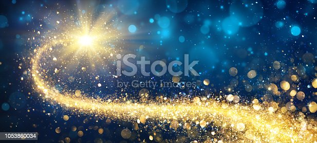 Golden Sparkling Falling Star With Stardust Trail