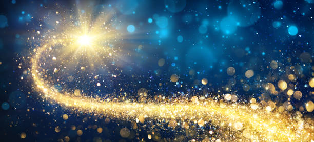 christmas golden star in shiny night - paranormal stock photos and pictures
