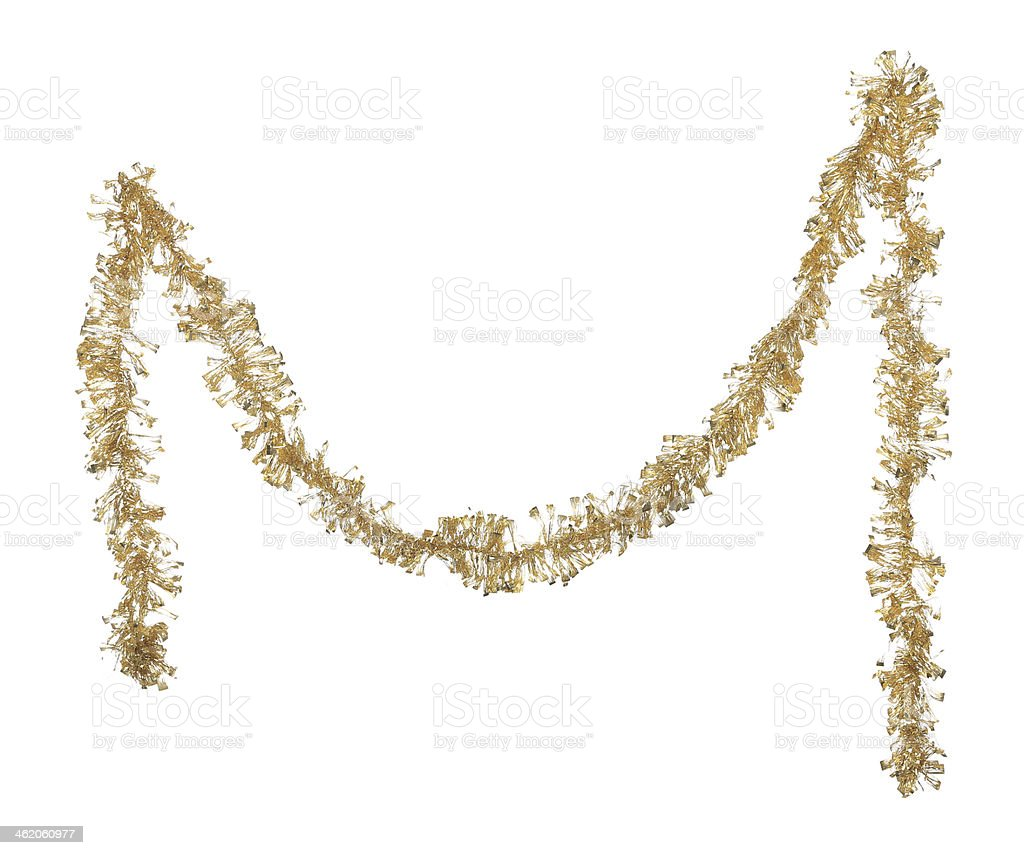 Christmas golden tinsel. stock photo