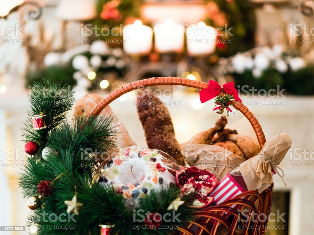 Christmas goods basket holiday food stock photo