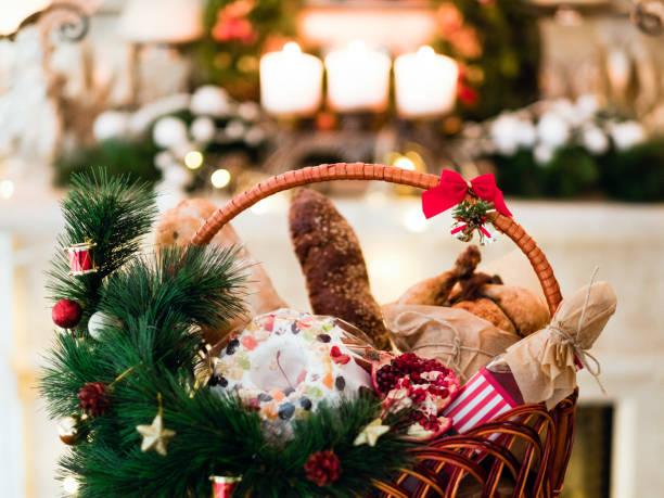 comida de férias do natal mercadorias cesta - cesto - fotografias e filmes do acervo