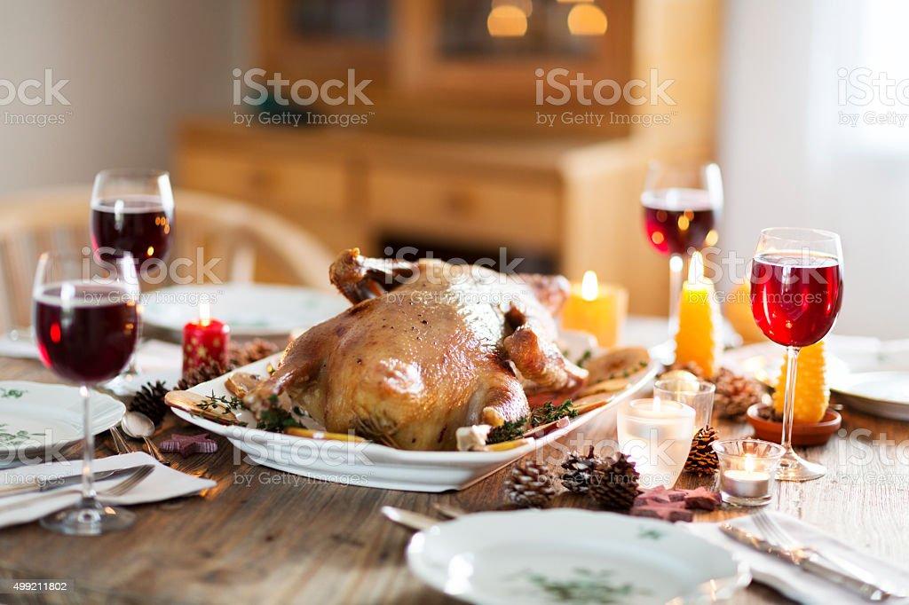 christmas goose  on festive holiday table stock photo