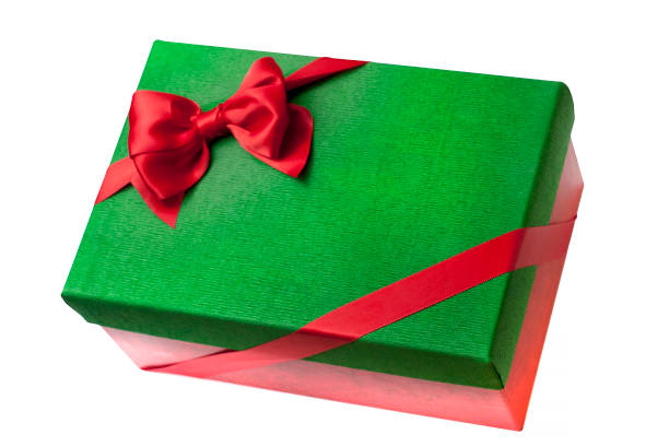 Christmas green gift box with red stock photo