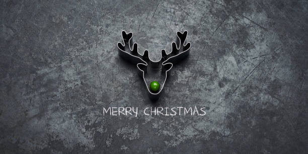 Christmas Green Nose Reindeer- Holiday Blackboard Metal Glitter Fun Humor Conceptual Christmas photography. Large multiple image stich. cookie cutter stock pictures, royalty-free photos & images