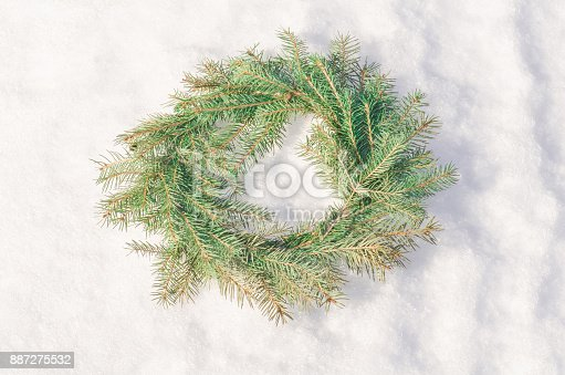 istock Christmas green wreath 887275532