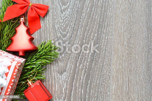 istock Christmas greeting background with tree decoration objects 502164680