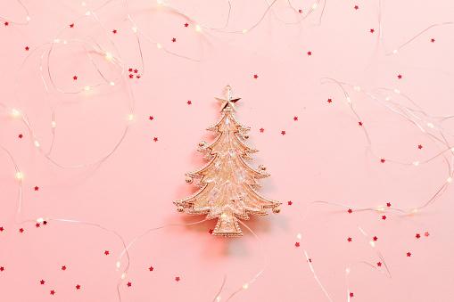 christmas greeting card fir tree ornament pink