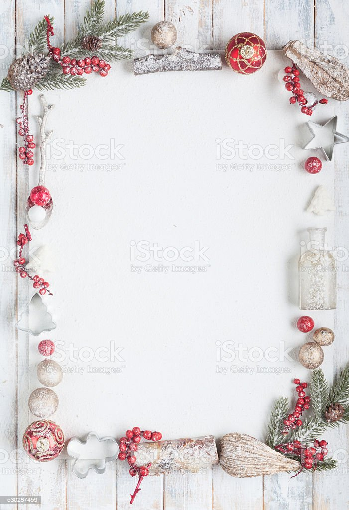 Christmas greeting card in red and white with copy space stock photo