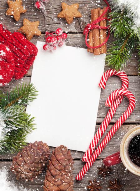 weihnachten grußkarte - weihnachts wunschliste stock-fotos und bilder