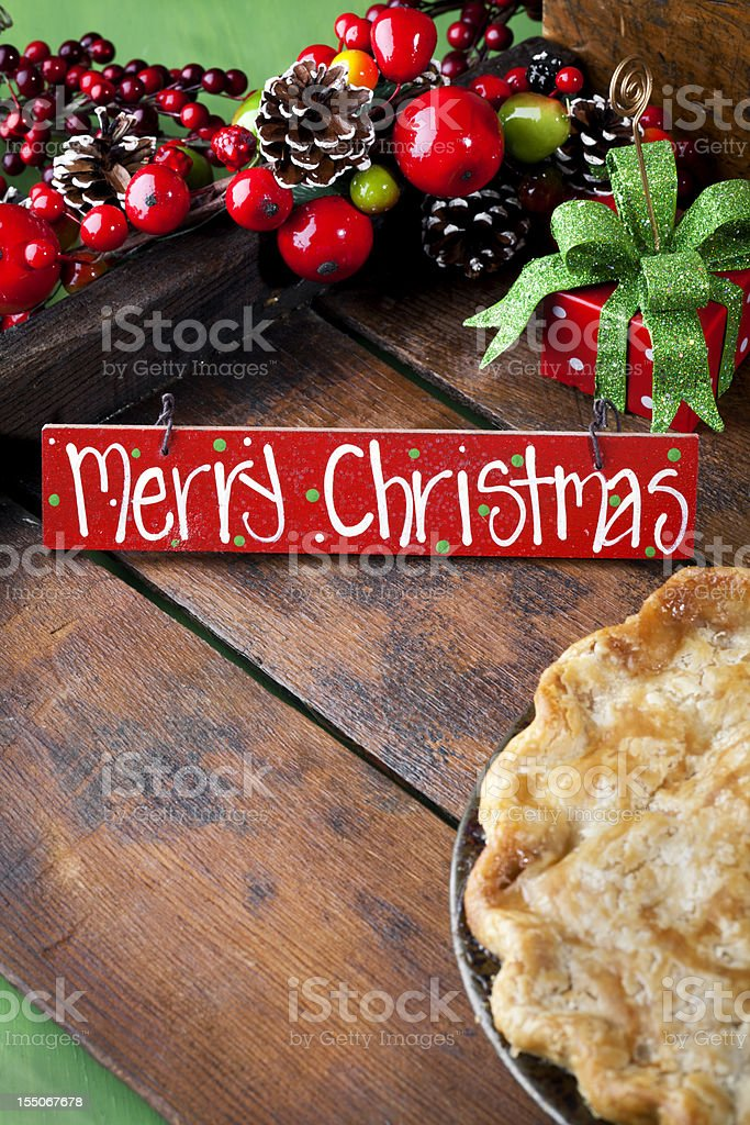 Christmas Greeting Card, Pie Dessert Holiday Gift royalty-free stock photo