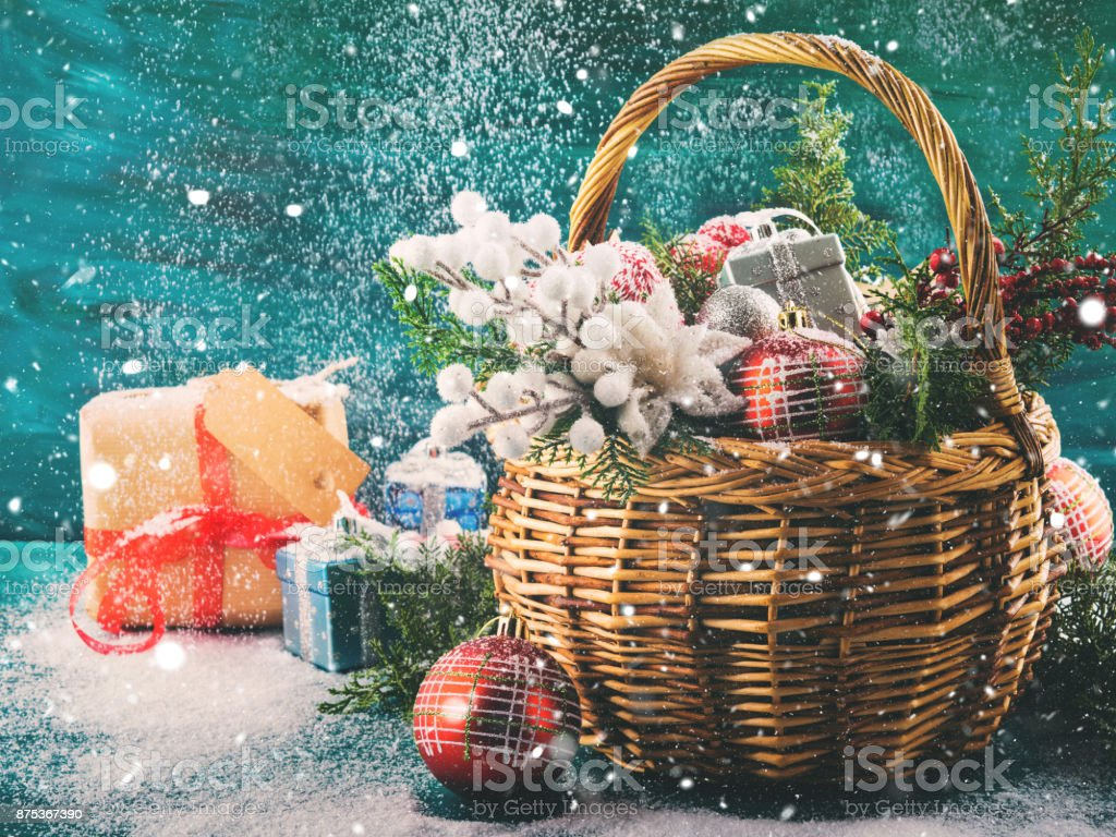 Christmas Greeting Card With Basket And Decoration Stock Photo Download Image Now Istock