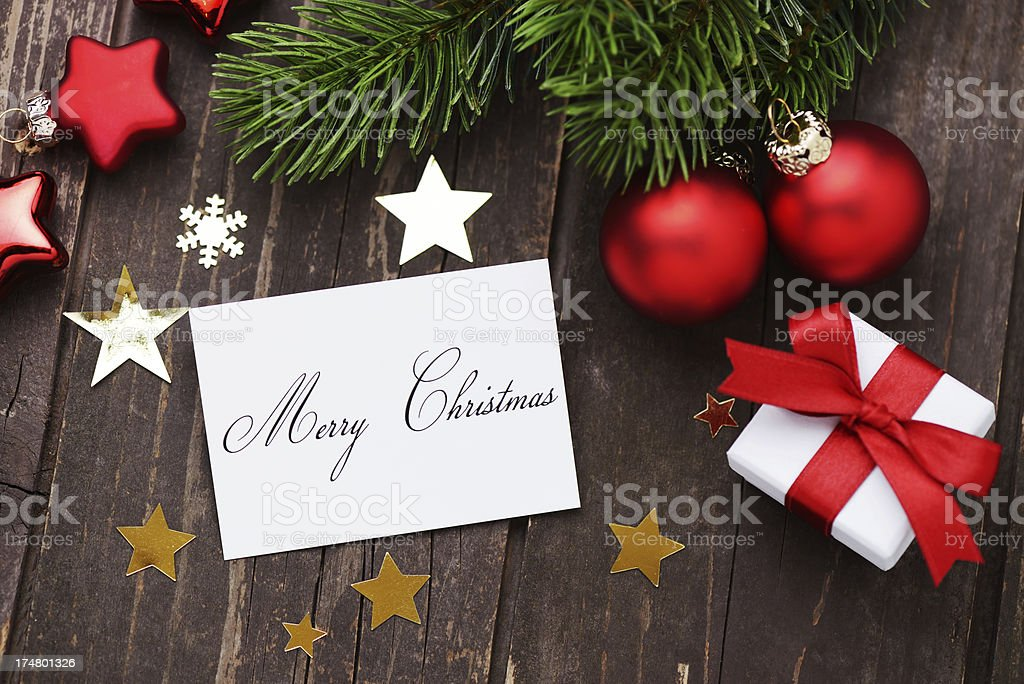 Christmas greeting card with decoration royalty-free stock photo