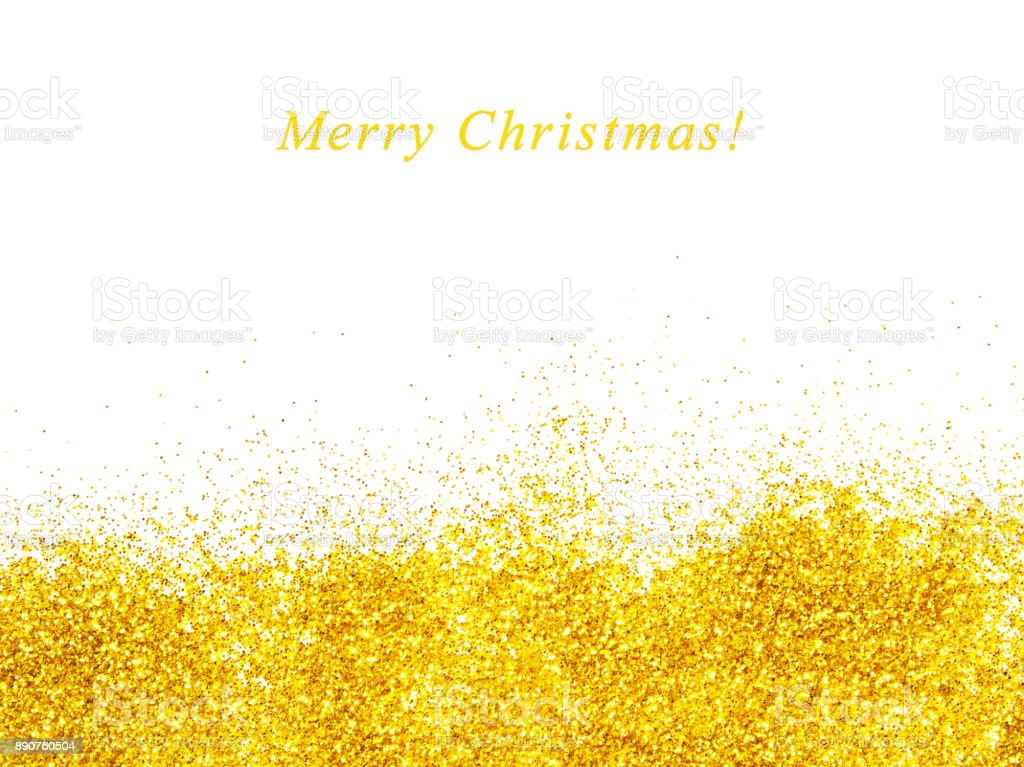 Christmas greeting card with golden glitter stock photo