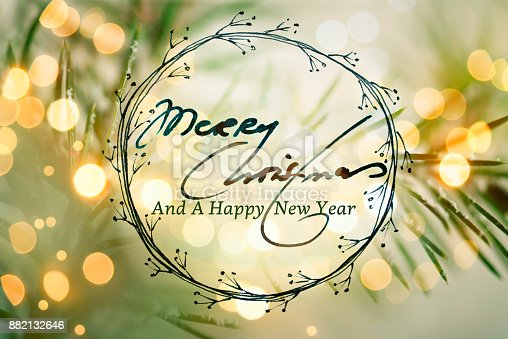 istock Christmas Greeting Card With Handwriting Elements 882132646