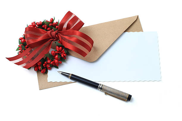 Christmas greeting card with pen stock photo