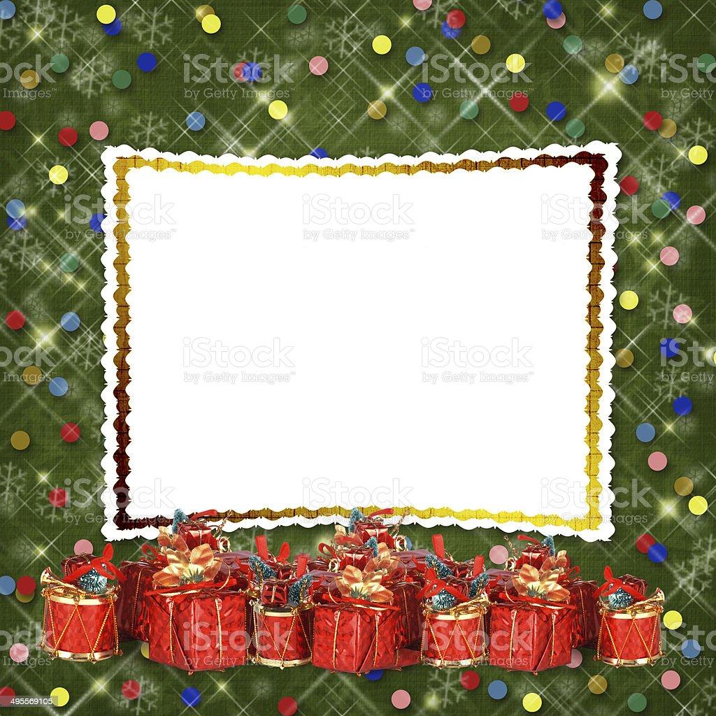 Auguri Di Natale 105.Biglietto Di Auguri Di Natale Con Regali Su Sfondo Verde