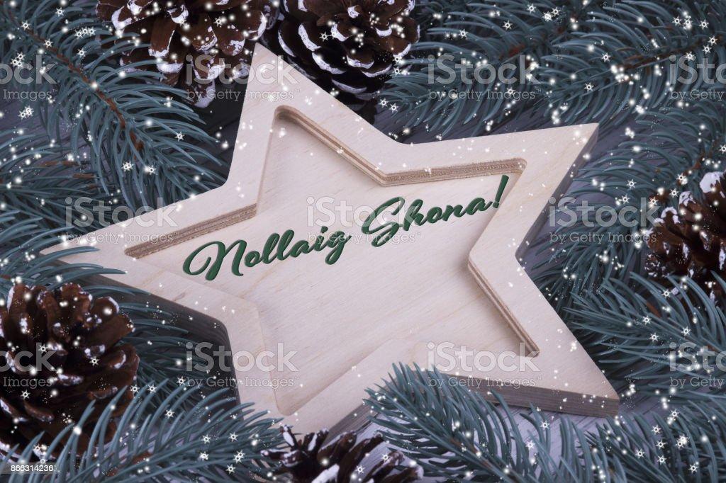 Merry Christmas In Irish.Christmas Greeting With Text Merry Christmas In Irish Stock