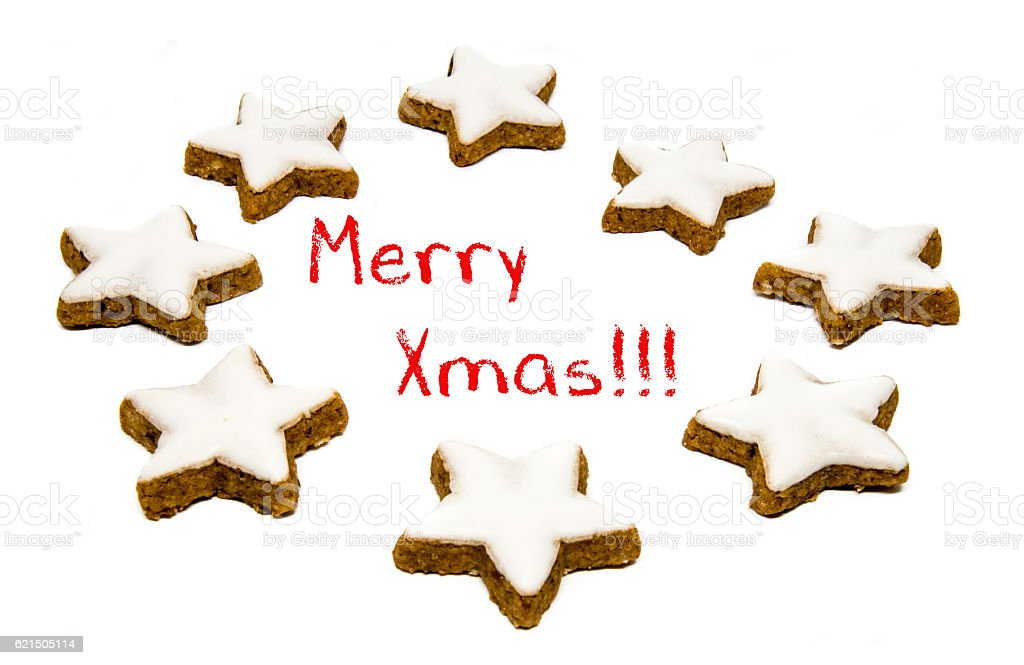 Christmas greetings - cookies and text Lizenzfreies stock-foto