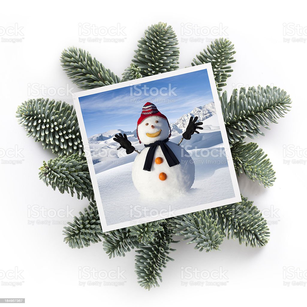 Christmas greetings. Snowman. royalty-free stock photo