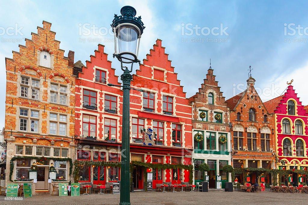 Noël Grote Markt mètres de Bruges, Belgique. - Photo
