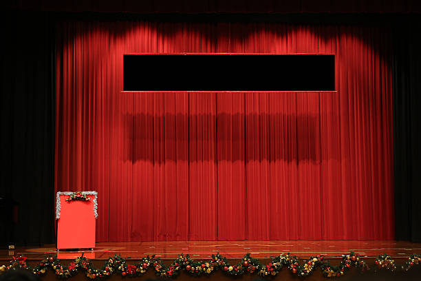 Christmas Hall Stage stock photo