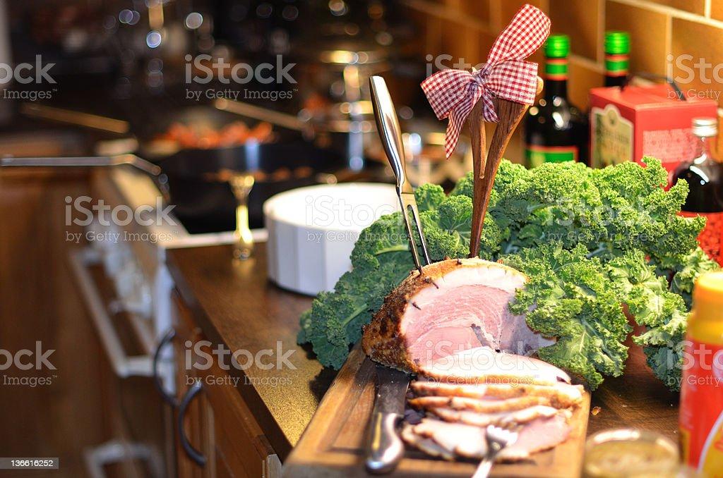 Christmas ham stock photo
