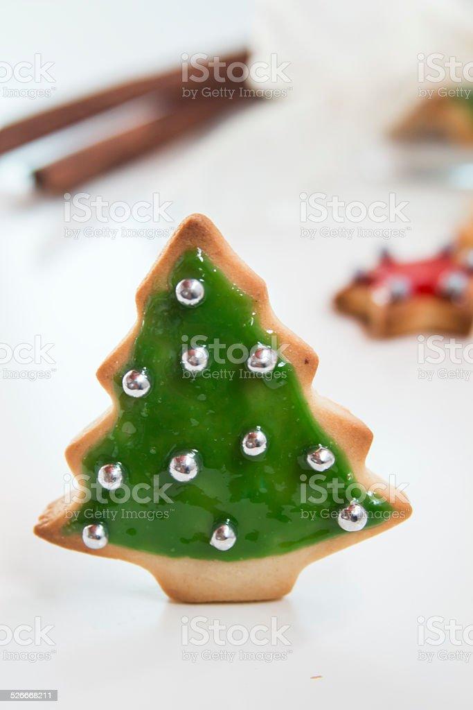 Christmas handmade cookies tree on white background stock photo