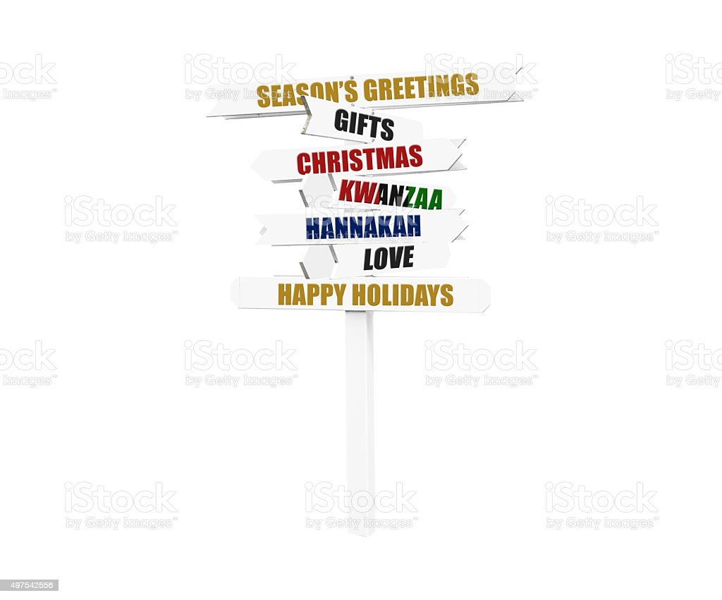 Christmas, Hannakah, Kwanzaa Directional Arrow Sign stock photo