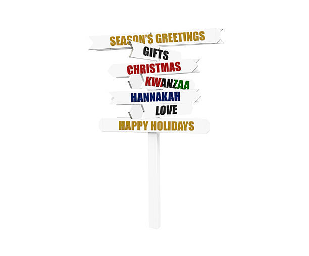 christmas, hannakah, kwanzaa directional arrow sign - kwanzaa stock pictures, royalty-free photos & images