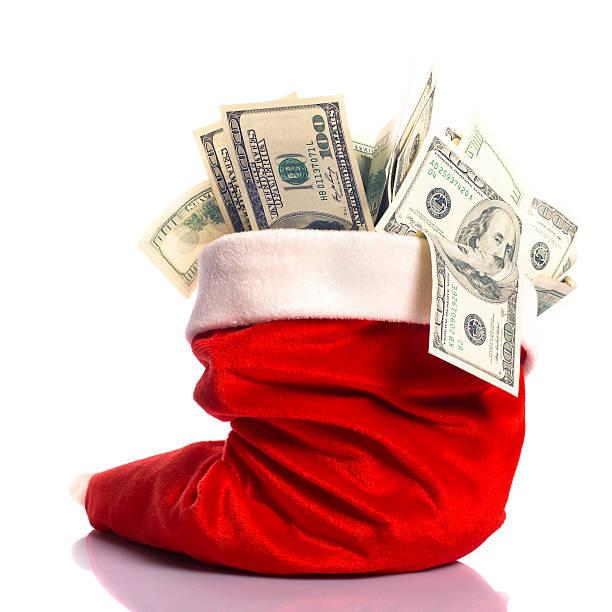 рождество hat полный денег - dollar bill стоковые фото и изображения
