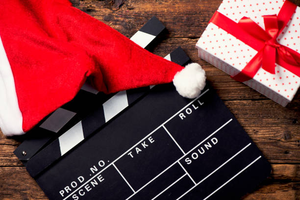 christmas hat with film board cutout - christmas movie foto e immagini stock