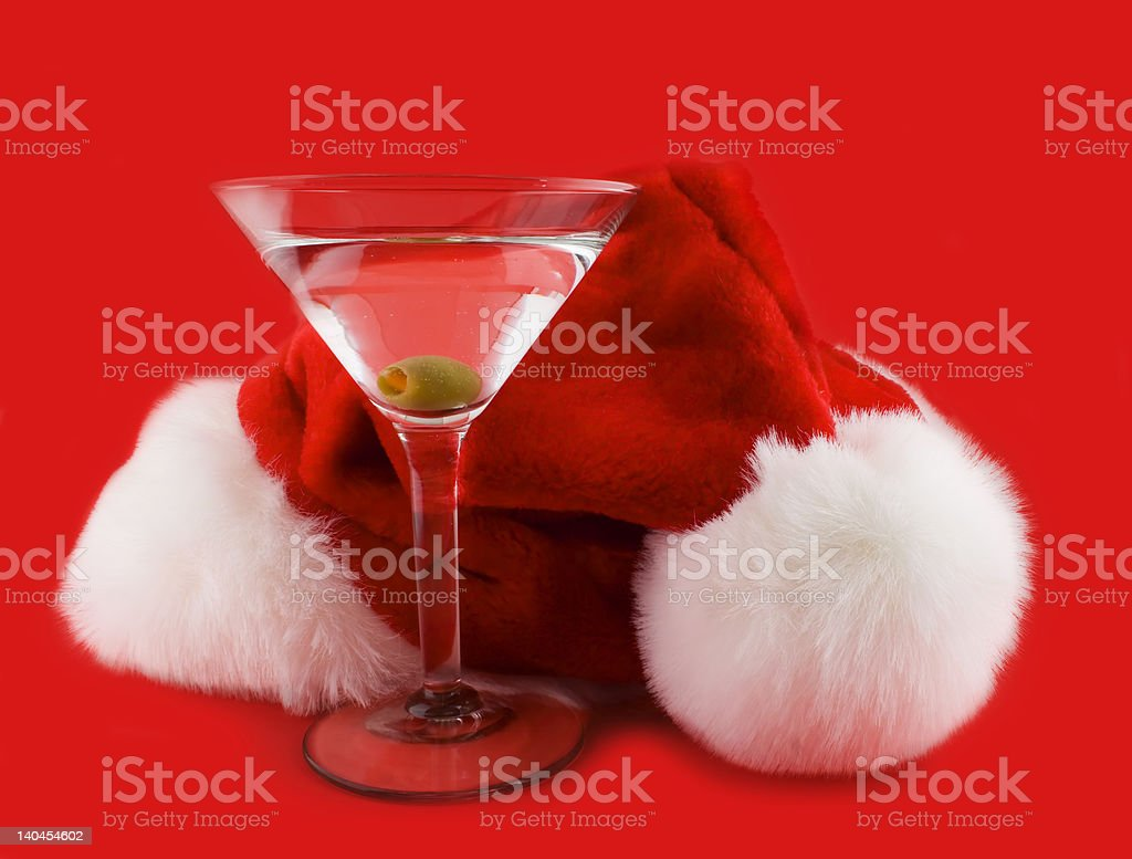 Christmas hat with martini royalty-free stock photo