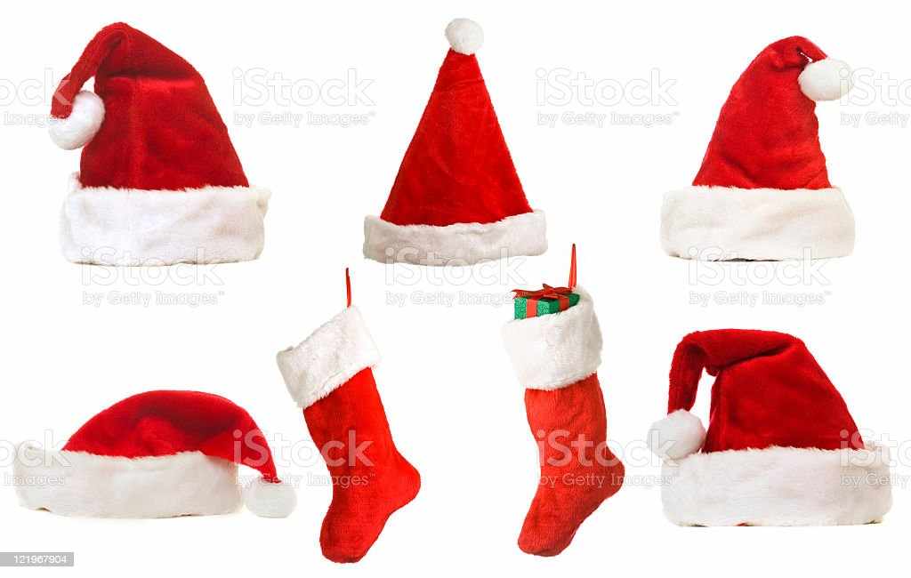Christmas Hats And Stockings royalty-free stock photo