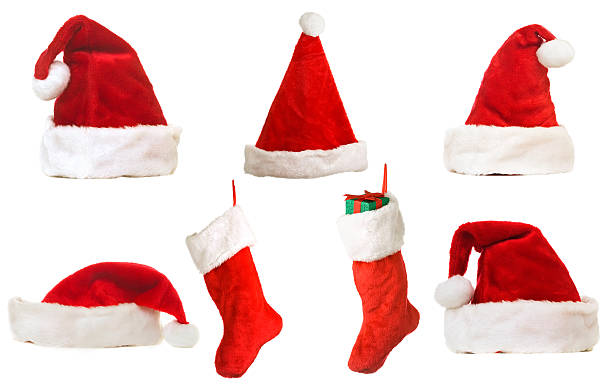 Christmas Hats And Stockings  santa hat stock pictures, royalty-free photos & images
